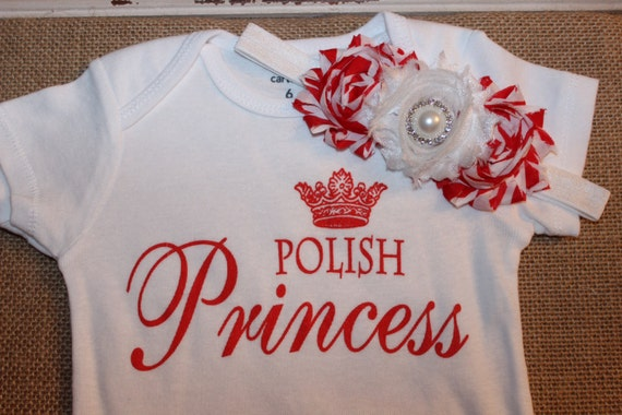 Polish Princess onesie set with red and white by SimplyDivineBaby