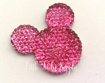 CLEARANCE 6 Bling Hot Pink Minnie Mouse Acrylic Embellishments, Resin, wholesale, Mickey Head, Minnie Head, crafts
