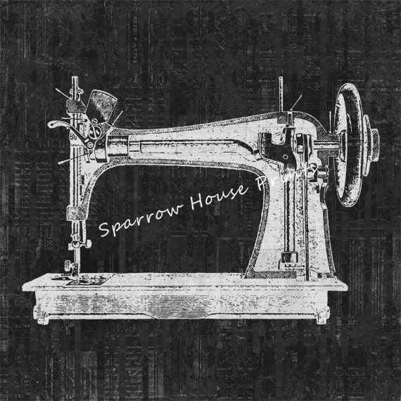 Items similar to sewing machine antique artwork sewing for Best home decor sewing machine
