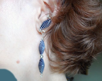 Sophisticated Czech Glass Drop Ear Cuffs with Stripes, pair, comfortable and no ear piercings necessary
