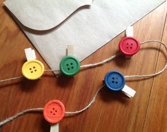 5 or 10 mini pegs with jute twine, rustic button pegs with twine