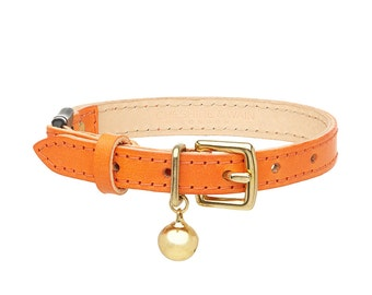 Orange Leather Cat Collar with Breakaway Buckle