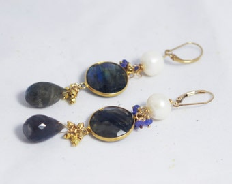 Labordorite, Pearl, Tanzanite and 14kt gold Dangle Earrings