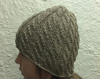 Hat in a Beige, Hand Knitted Brownish Color Hat