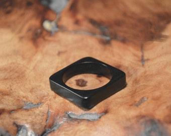 Handmade Natural Ebony Ring Wooden Square Ring Black Promise ring