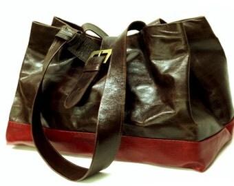 Sale! 2 colors Leather bag, Large Brown leather tote bag, Burgundy leather handbag, Large designer's Leather tote bags