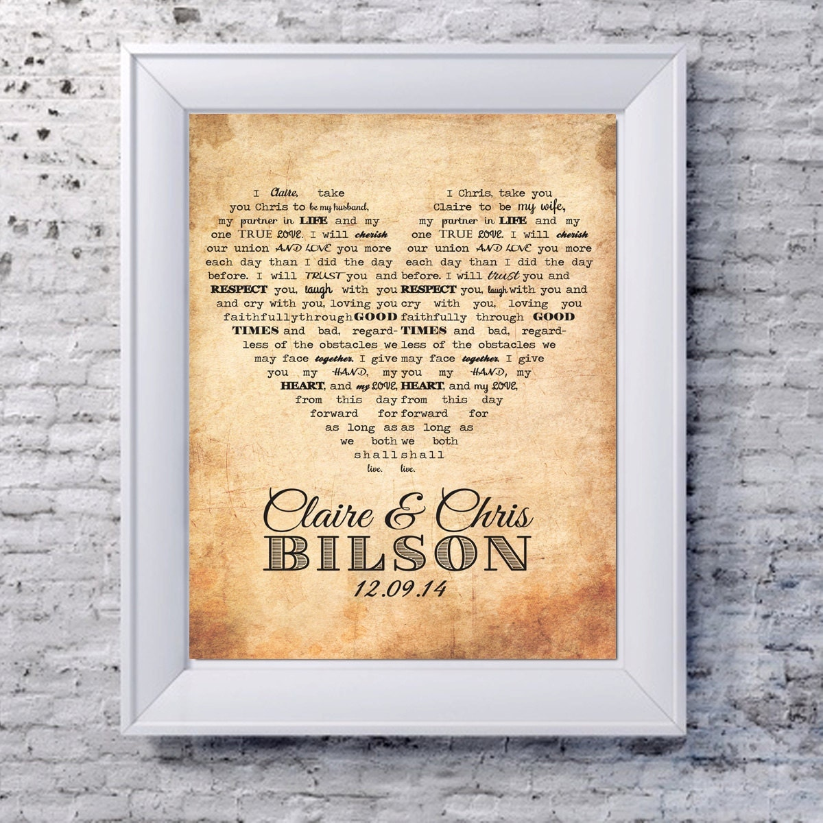 Personalized Wedding Vows: Unique Wedding Gift Personalized Vintage Vows Print