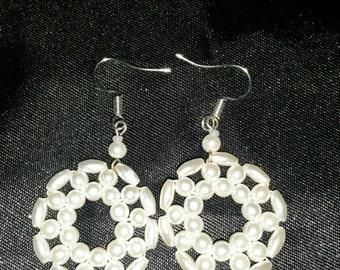Handmade upcycled pearlescent bead dangle earrings