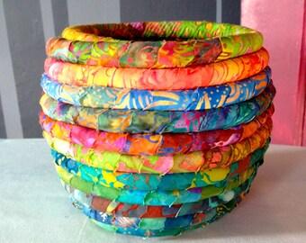 Batik Fabric Coiled Pot  Basket