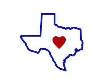 Texas Embroidery Design,  applique' in multiple sizes, I Heart Texas