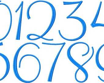 Numbers Embroidery Design,   font numbers 0 through 9, 2 in, 3in and 4in, #343