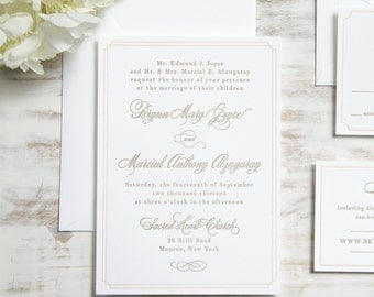 The Brynn Suite | Classic Letterpress Wedding Invitation SAMPLE