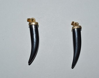 Hematite Horn/Tusk pendants. Set of 2