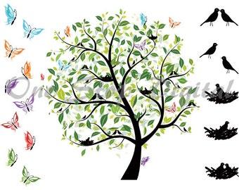 Instant Download Digital Love Bird Tree ClipArt Green Tree Clip Art Scrapbooking Elements Valentines Love Bird Clip Art Bird Nest 0096