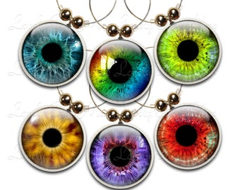 Eye Ball Wine Glass Charms, Set of 6, Eyes Charm, Wine Glass Jewelry, Eye Wine Charms, Wine Charm, Colorful Wine Charms, Wine Accessories