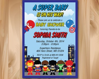 Superhero Baby Shower Invitation. Super hero Baby Shower Invite. Super baby boy or girl. Superheroes. Printable Digial file. Custom.