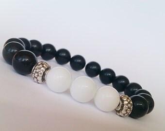 White Agate Stone Bracelet, Black Agate Bracelet, Beaded Bracelet Women, Stretch Bracelet, Gemstone Bead Bracelet, 10mm Agate Bead Bracelet