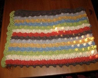 Bobble Stitch Stripe Baby Blanket