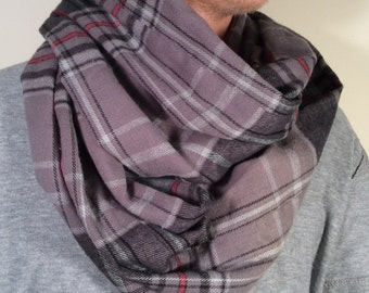 Flannel Scarf, Plaid Infinity Scarf, Winter Scarf, Mens Scarf, Infinity Scarf, Tartan Scarf, Loop Scarf, Circle Scarf, Christmas Gift