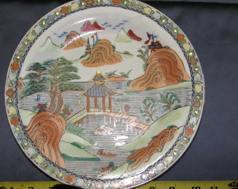 Japanese Porcelain Plate Hand Painted In Macau  Called Pavillion in Summer