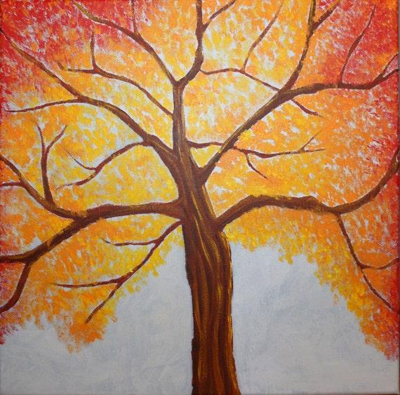 Autumn Tree- 12 x 12 in Acrylic Painting on Canvas