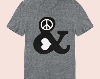 PEACE & LOVE -  Women's Slim Fit TShirt, Graphic Tee, American Apparel, Short Sleeve Shirt, T Shirt