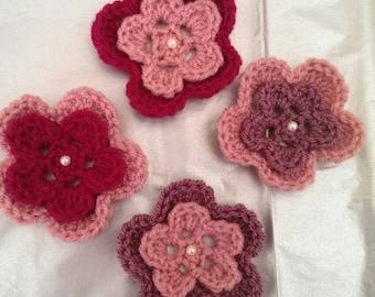 Pink and Purple Crochet Applique Flowers