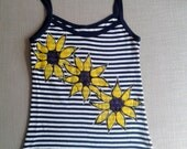 Mariner tank top, striped tank top, Hand painted Tank, Sunflowers tank top, spaghetti straps tank, sunflower tee, Unique tank top