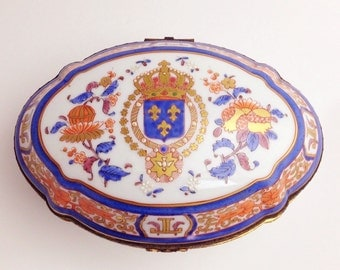 Limoges Very Large Trinket Jewelry Box Hand Painted Peint a la |Limoges Jewelry