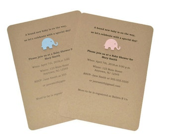 12 Elephant Invitations, Baby Shower Invitations, Safari Party Theme - PIck Your Color