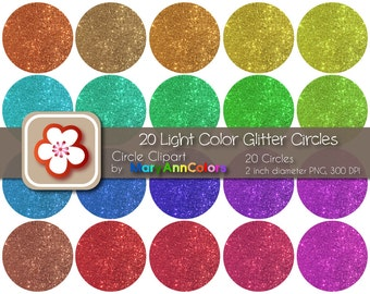 Instant Download - 20 Light Color Glitter Circles Clipart by MaryAnnColors