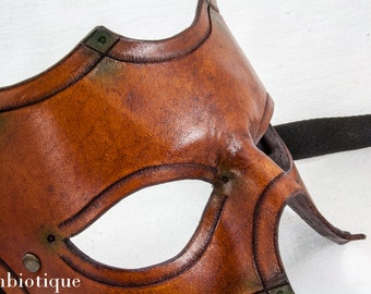 Leather Mask -  Chestnut with green tips - In Stock ready to ship ..