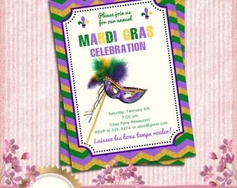 Mardi Gras invitation, Masquerade Ball Party Invitation - Green, Purple, Gold, Chevron - Printable DIY