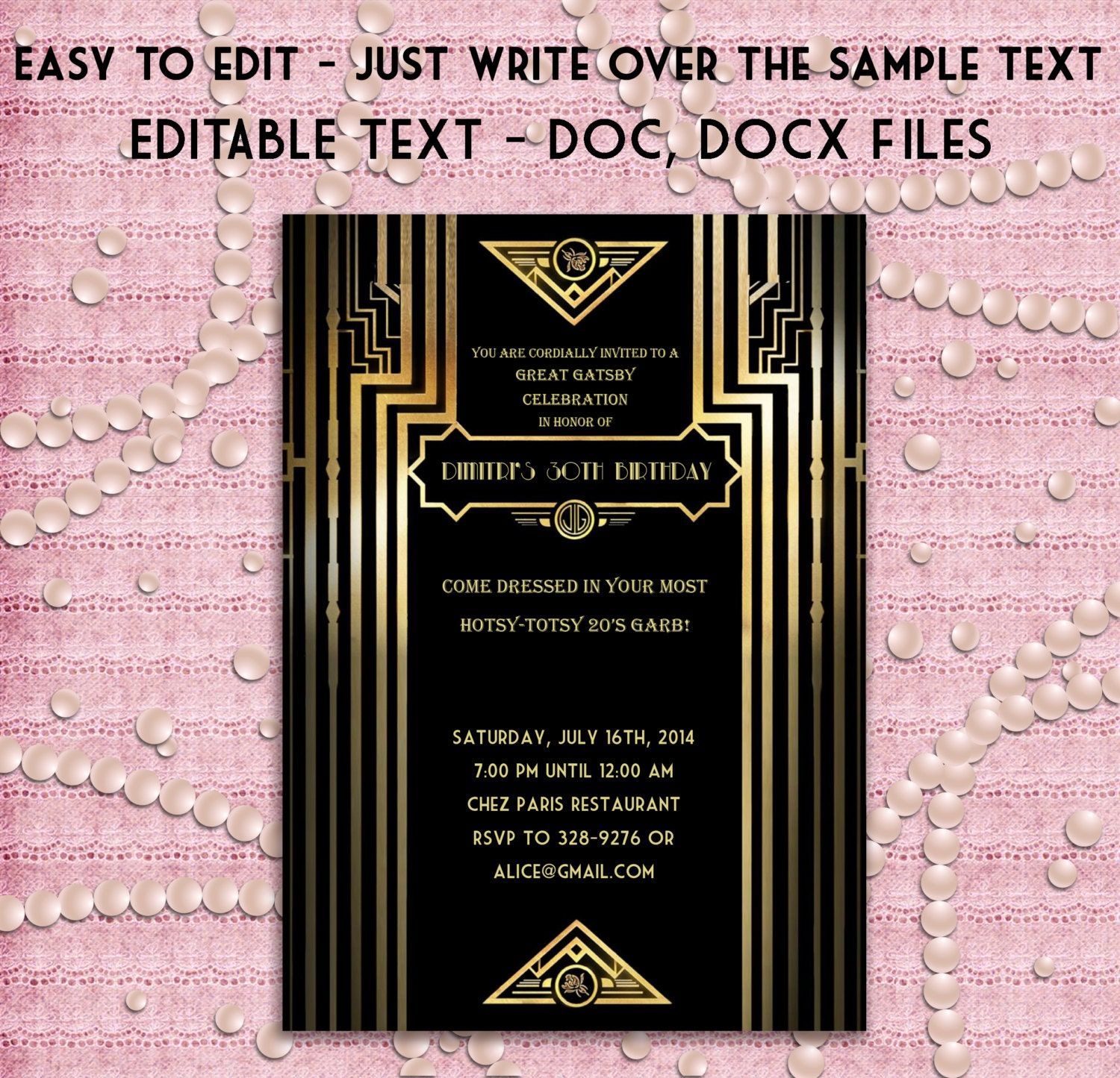 Great Gatsby Style Art Deco Party Invitation Prom Birthday