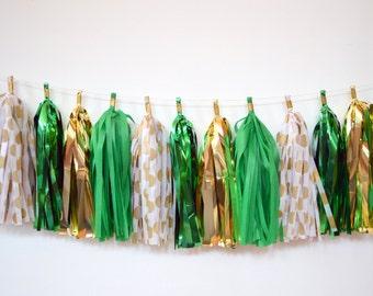 St. Patrick's Day Tassel Garland - St. Patrick's Day Decoration - Gold and Green Tassel Garland - St. Paddy's Day Decoration