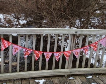 "Valentine's day ""True Love"" reversible fabric triangle banner"