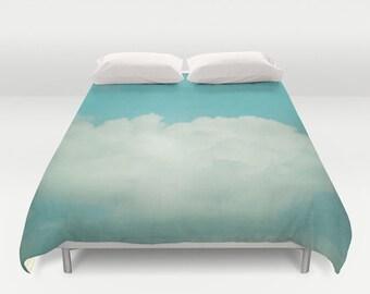duvet cover, queen duvet, king duvet, full double duvet cover, sky duvet, clouds duvet, blue mint dreamy white clouds