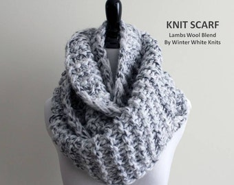 Chunky knit scarf, hand-knit winter scarf, Lambs wool blend scarf, chunky infinity scarves, soft and cozy, available in many colors