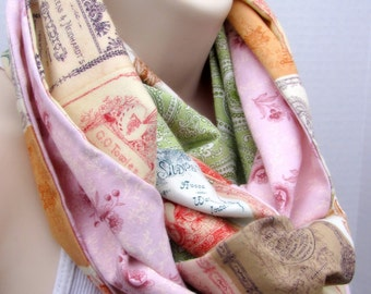 Handcrafted Vintage-Inspired Postcard Infinity Fashion Scarf
