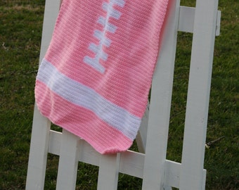 Sale price! Discounted! Pink Crocheted Football Blanket