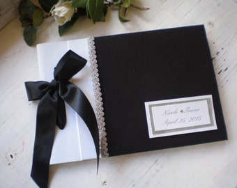 Black white silver guest book-Personalized  wedding guest book- bridal wish book