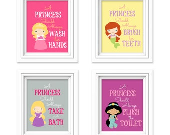 "Princess Bathroom Art Prints - ""A Princess Should Always Wash her Hands"" Bathroom Decor - Kids Bathroom - Girls Bathroom - Set of 4 Prints"