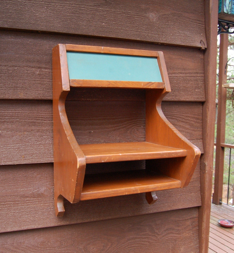 Chalkboard Telephone Center Vintage Wooden Phone Stand Shelf
