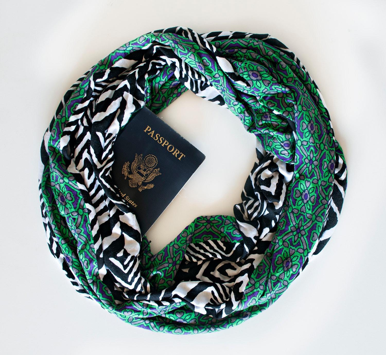 East bay scarf w hidden pocket travel by speakeasysupplyco for Travel scarf