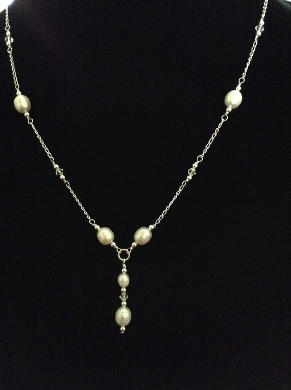 Freshwater Pearl Y Necklace on Sterling Silver Chain NSS61517100