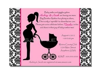 Damask Baby Shower Sprinkle Invitation Pink - DIGITAL or PRINTED