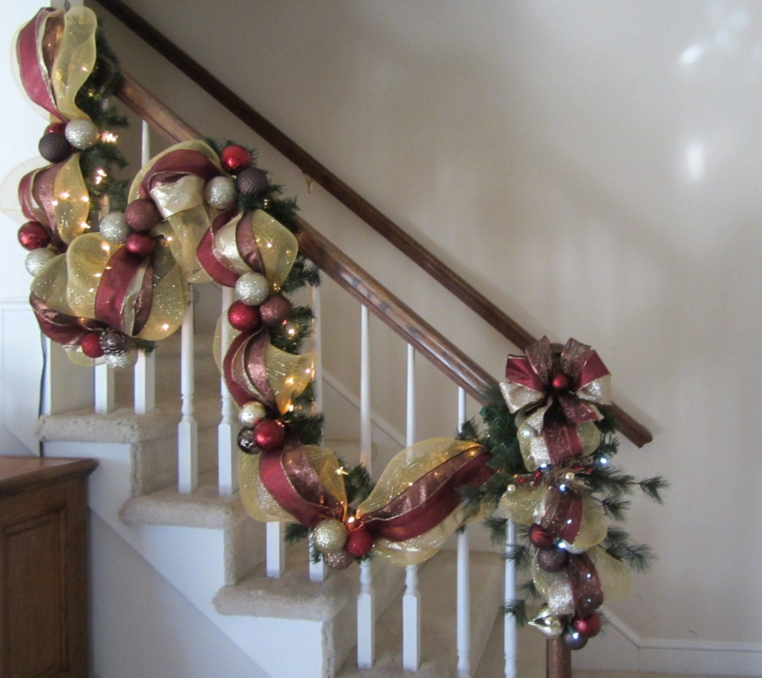 Christmas Garland Swag Set, Wreath, Old World, Pine, Mesh, Stair Case, Mantel Garland, Wall, Door, Lights, Holiday Decor