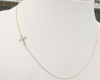 14K Gold Diamond Petite Cross Sideways Necklace  6J7359