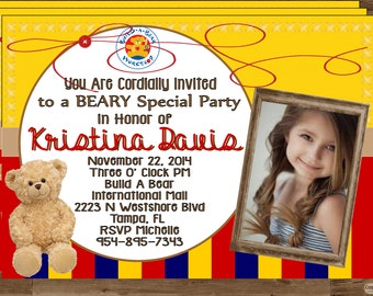 Build a Bear Invitation Invite Bear Party Build a Bear Party