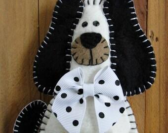 Wool Felt White & Black Puppy Dog Money Holder Ornament